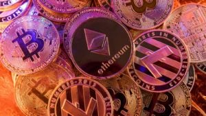 A pile of pink-toned cryptos.